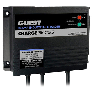 Guest 10AMP - 12/24V 2 Bank 120V Input On-Board Battery Charger [28210]