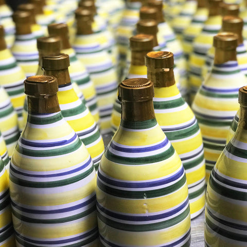 Green Striped Ceramic Bottle