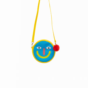 Gooood Vibes Smiley Sling Bag (Blue Pink)