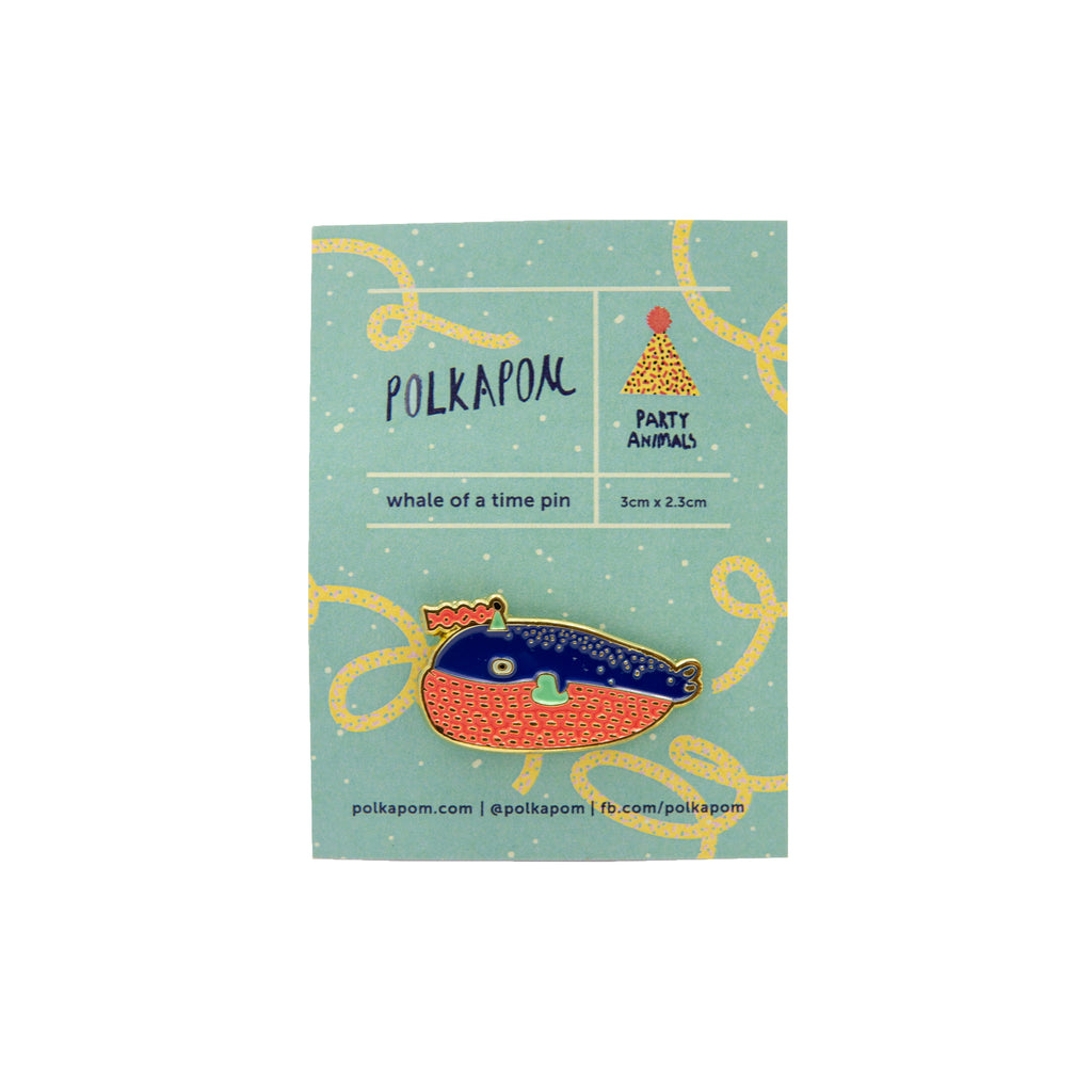 Party Animals Whale Enamel Pin