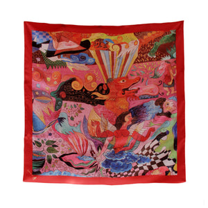 Silk Square Scarf (Red)