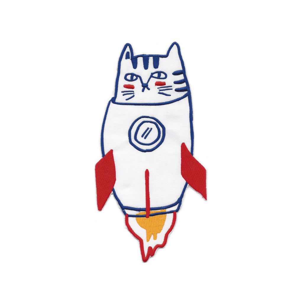 Rocket Cat Iron on Back Patch