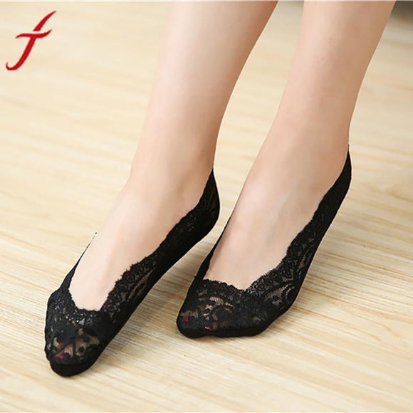 women socks 2017 Fashion Girls Lace Antiskid Invisible Liner Ultra-thin Elastic Low Cut Socks calcetines divertidos