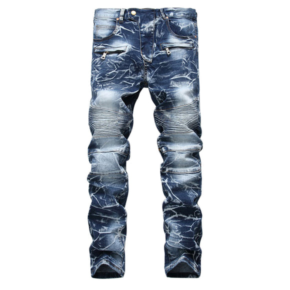 Men's Stylish Slim Straight Jeans Regualr Fit Washed Denim Jeans with Multi-Zipper Decor