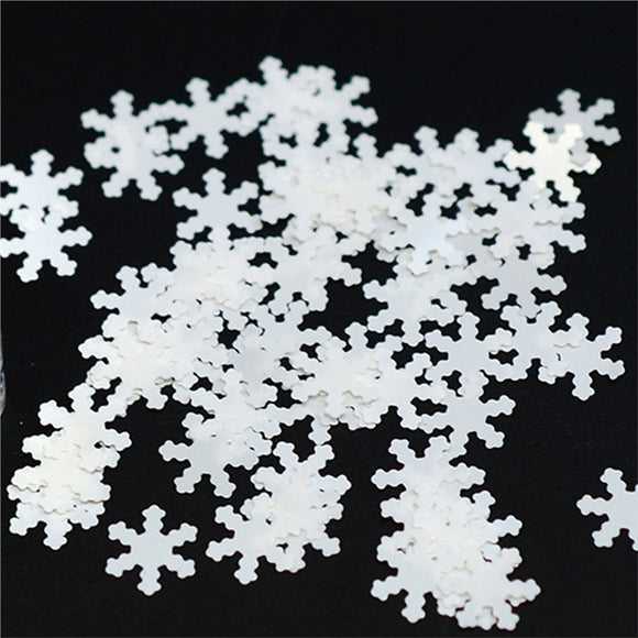 Nail Art Snowflakes Christmas Glitter Jewelry Dress DIY Charms Nail Tips Decorations (White)