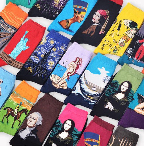 Autumn and winter men's socks new personality art retro world famous painting series men's socks oil painting socks