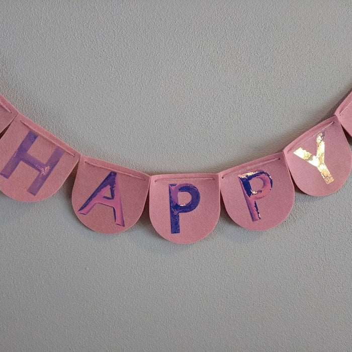 Cricut Birthday Banner with Holographic Iron-on on Felt