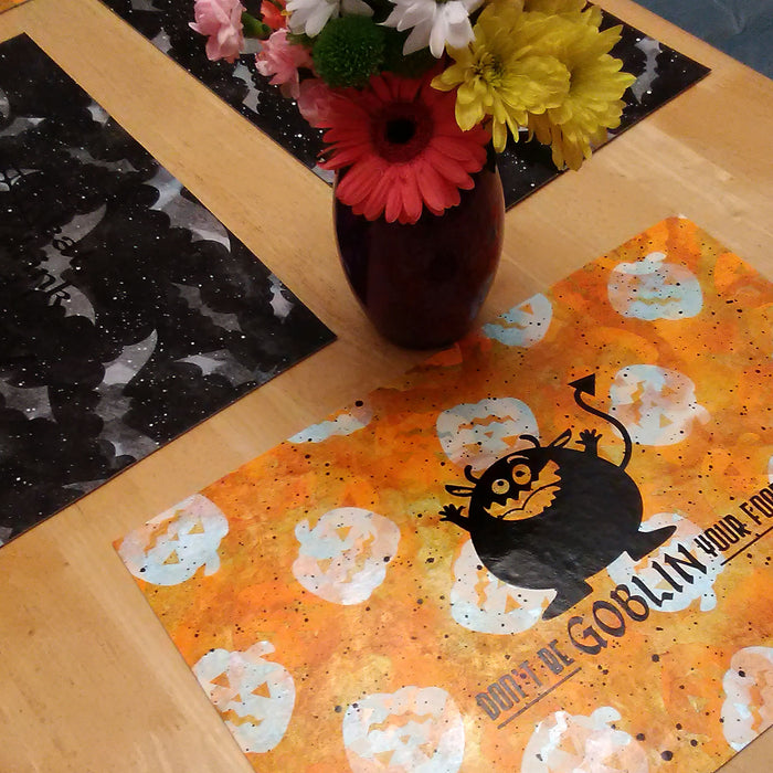 Painted Halloween Placements using Vinyl Masks
