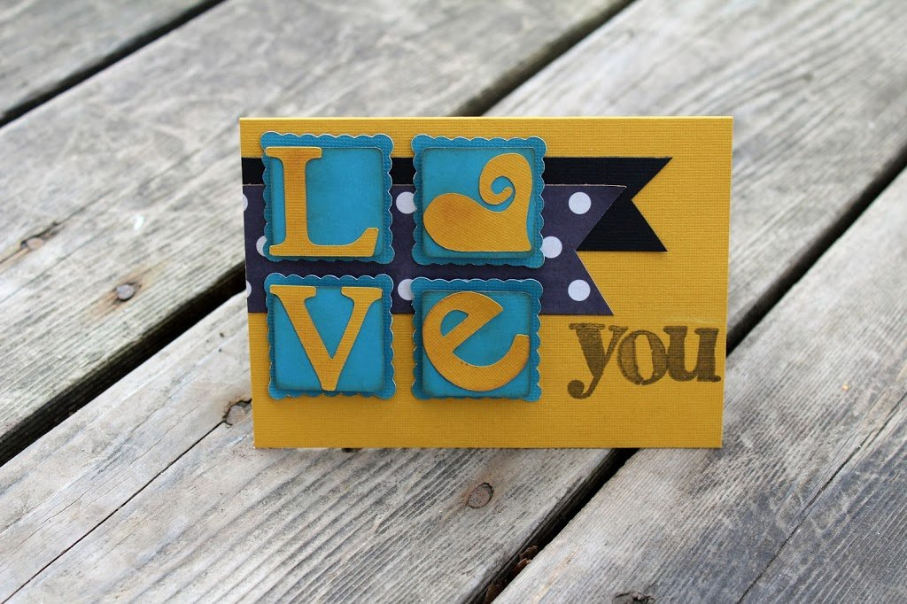 Gold & Blue Masculine Valentines Card