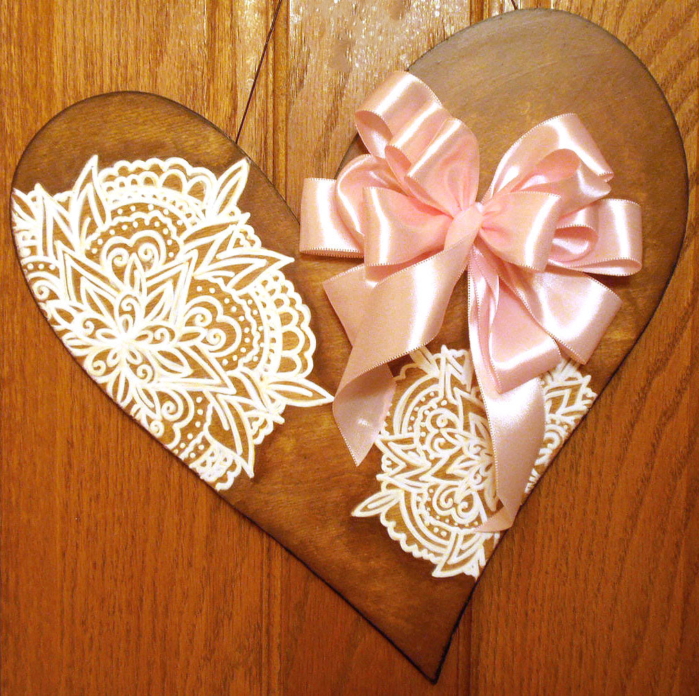 Wood Mandala Heart for Your Door