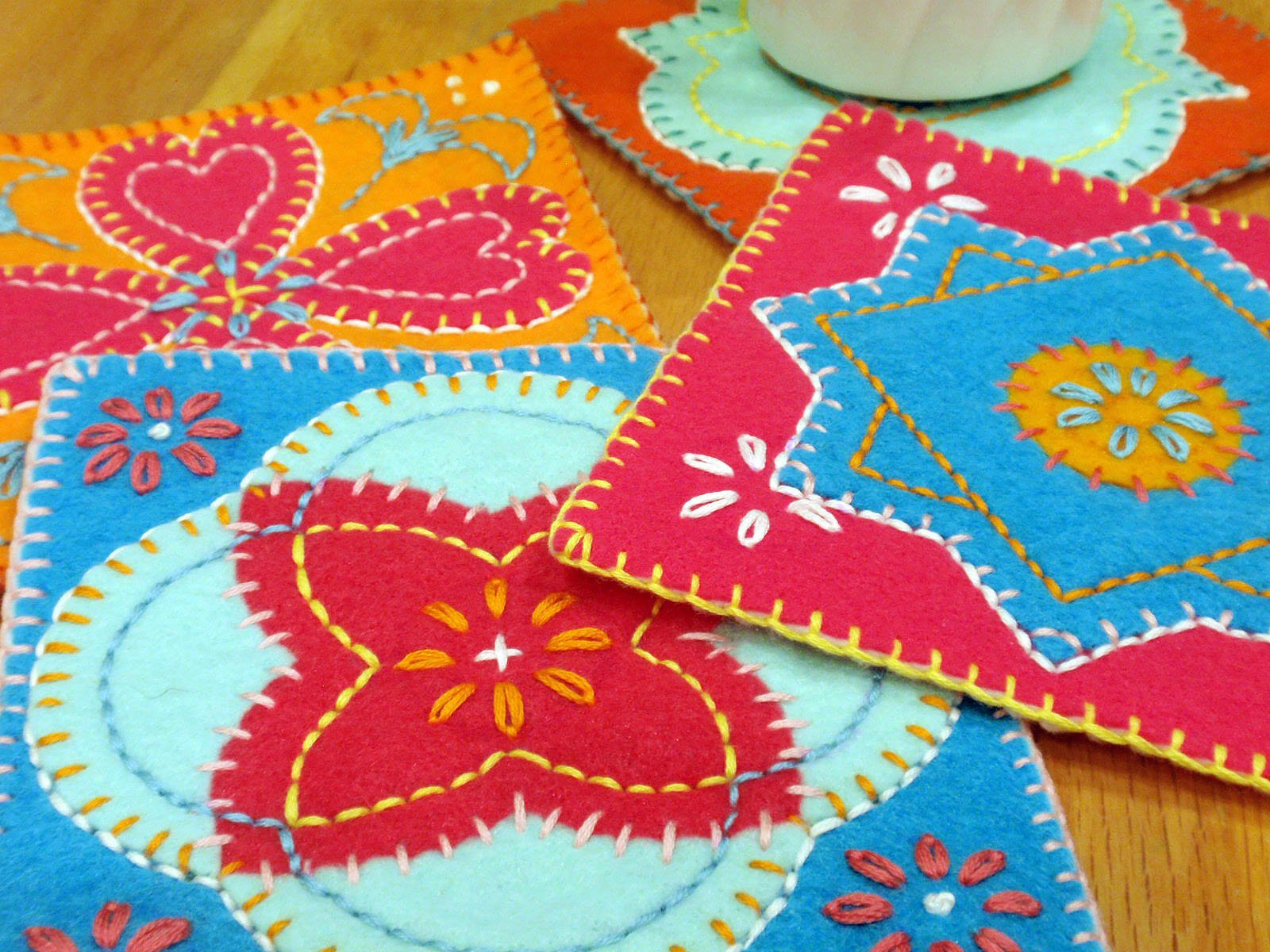 Colorful Felt Coasters (including Free Pattern!)