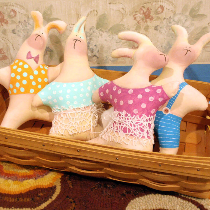 Fabric Bunny Dolls: Whimsical Painted Easter Decor