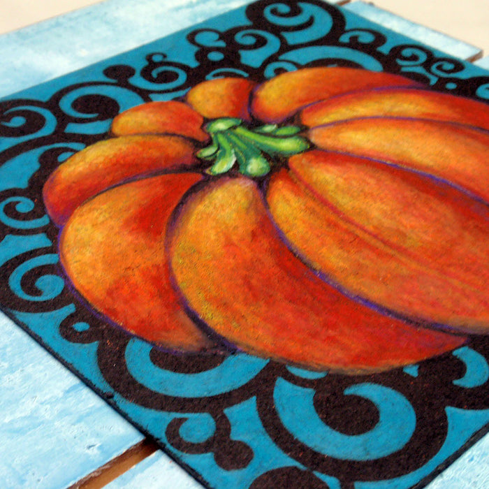 How to Layer Colored Pencils to Make a Pumpkin Shelf-Sitter for Your Fall Decor