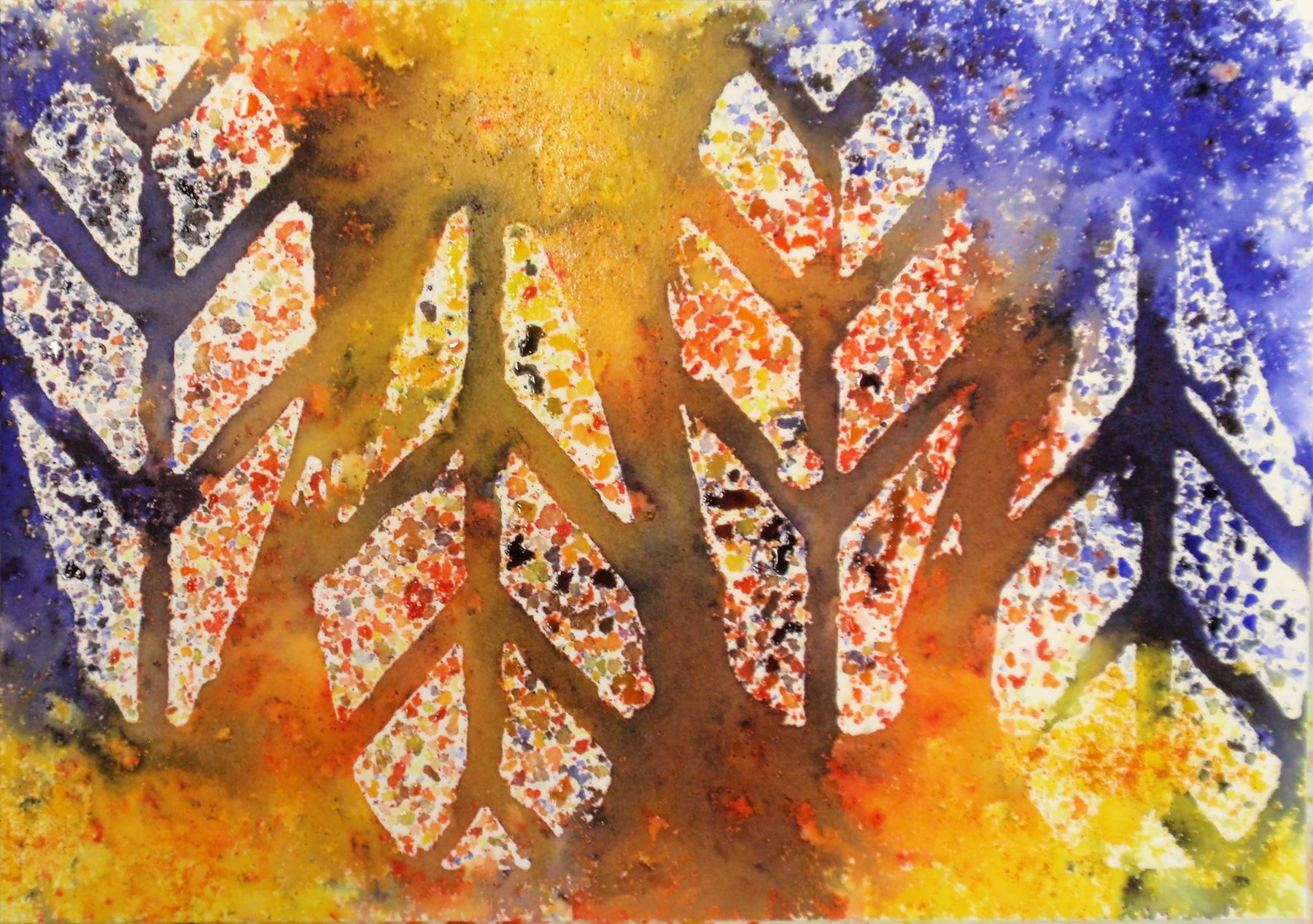 Use Brusho Crystals and Watercolor Resist to Make Colorful Abstract Cards