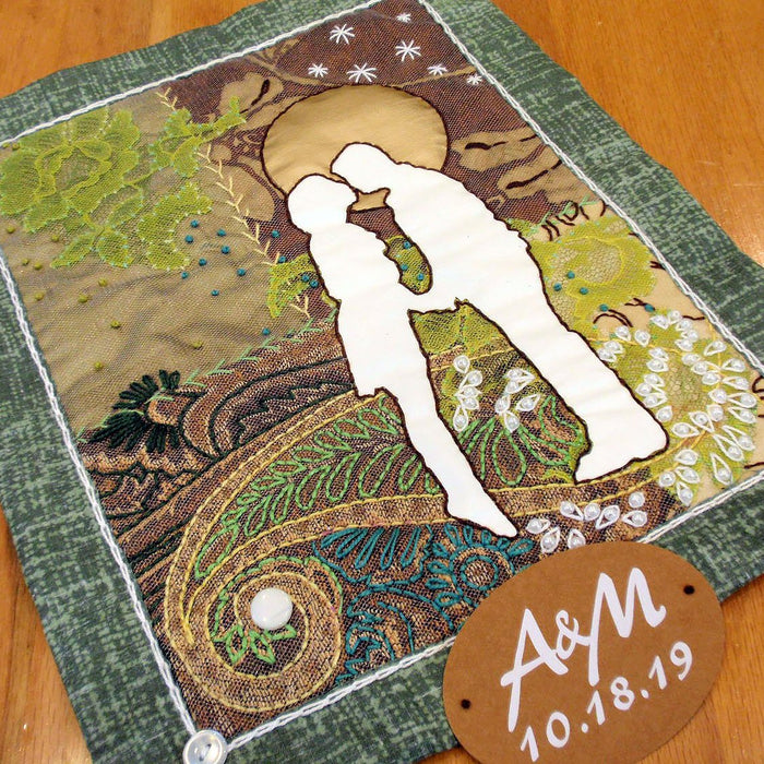 Fabric Collage with Iron-On Design: Gift for a Special Couple