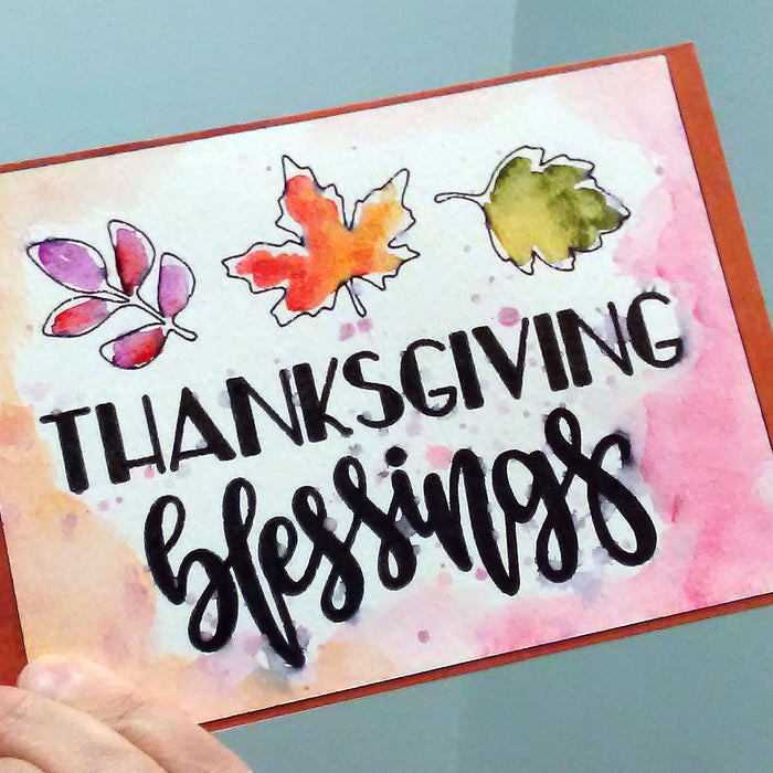 Easy Thanksgiving Cards using Cricut Pens and Watercolor Paint