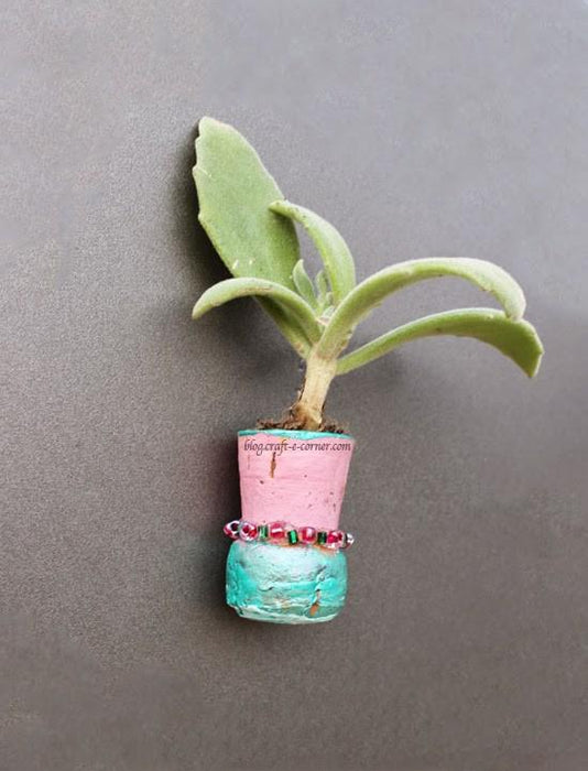 Craft Green!  Eco Friendly Wine Cork Fridge Magnet Planters for Earth Day