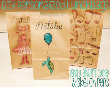 DIY Personalized Lunch Bags With the Silhouette Cameo & Sketch Pens