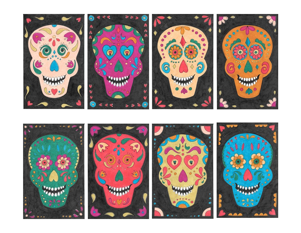Color Your Own Sugar Skull Banner (Includes Free Coloring Pattern!)