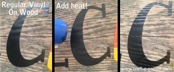 Use a heat tool to melt vinyl into wood grain making the vinyl look painted on.