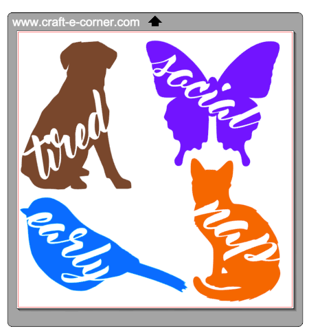 "Exclusive heat transfer designs - ""Dog Tired"" ""Social Butterfly"" ""Early Bird"" and ""Cat Nap"" so punny!"