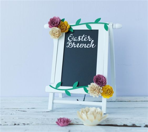 Easter Brunch sign with Paper Flowers