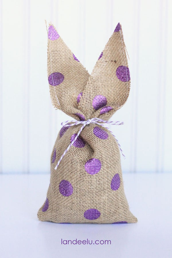 Burlap Bunnies with purple polka dots