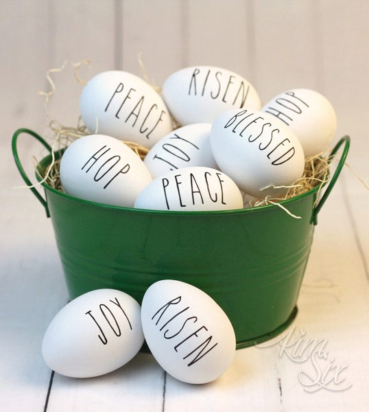 Easter eggs with vinyl words on them