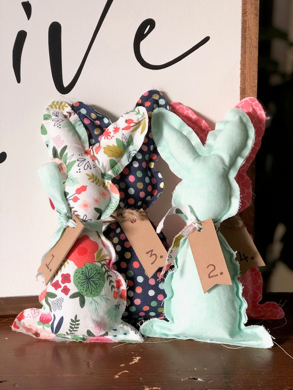 Fabric bunnies made with spring-themed fabric