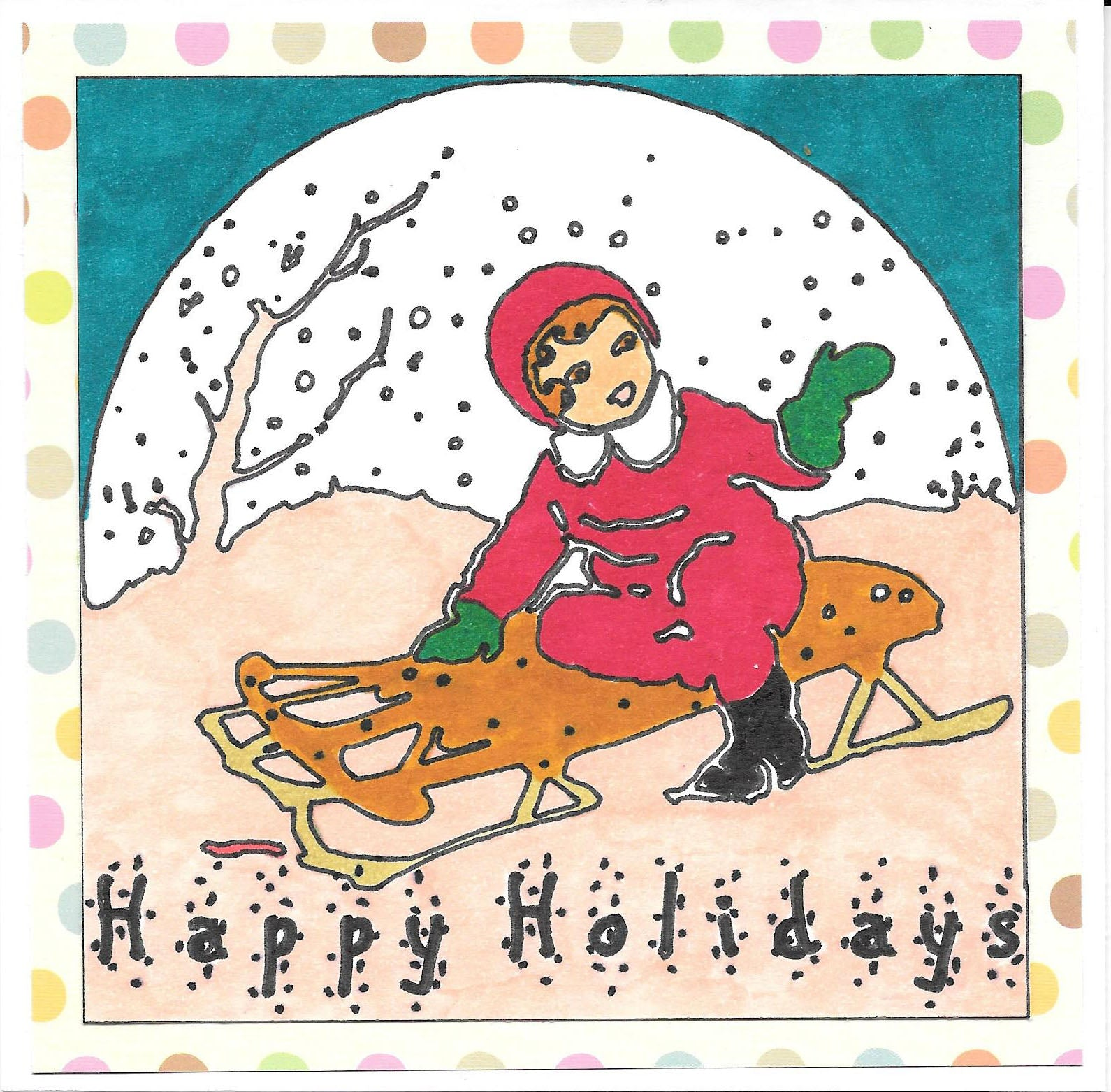 vintage image colored card- girl on sled