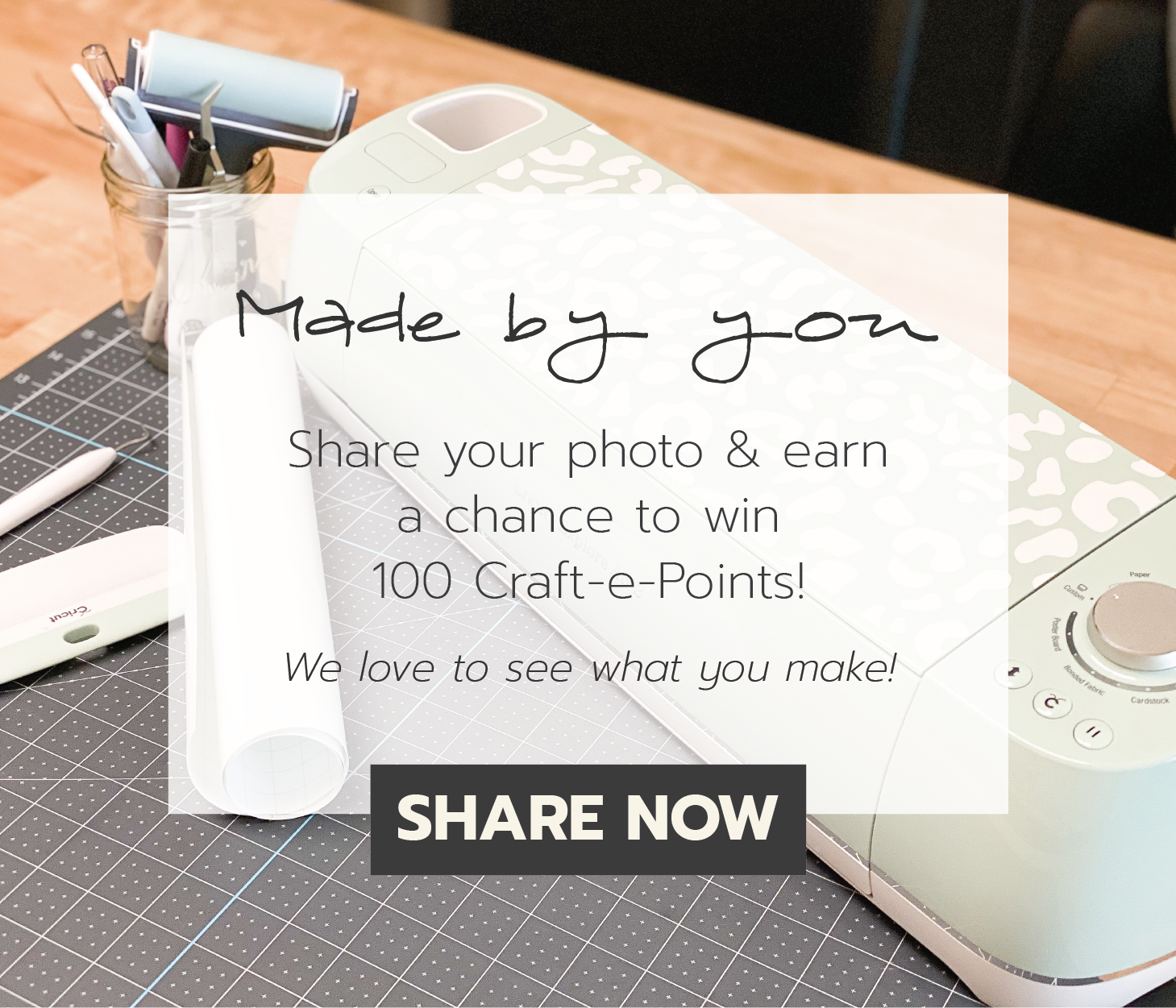 Made by You. Share your photo and earn a chance to win 100 Craft-e-Points. Redeem points for special discounts and gifts. We love to see what you make. Share your project.