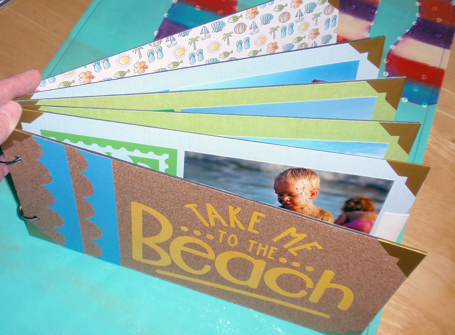 beach scrapbook album top view