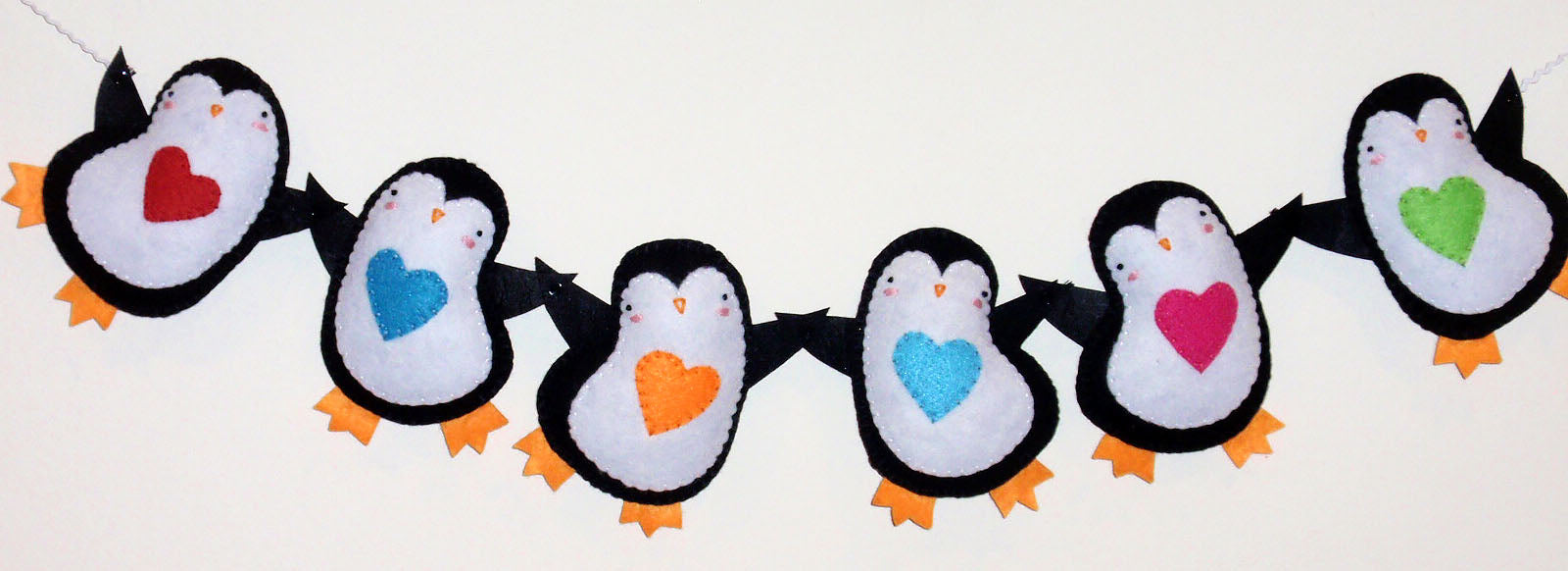 completed penguin garland