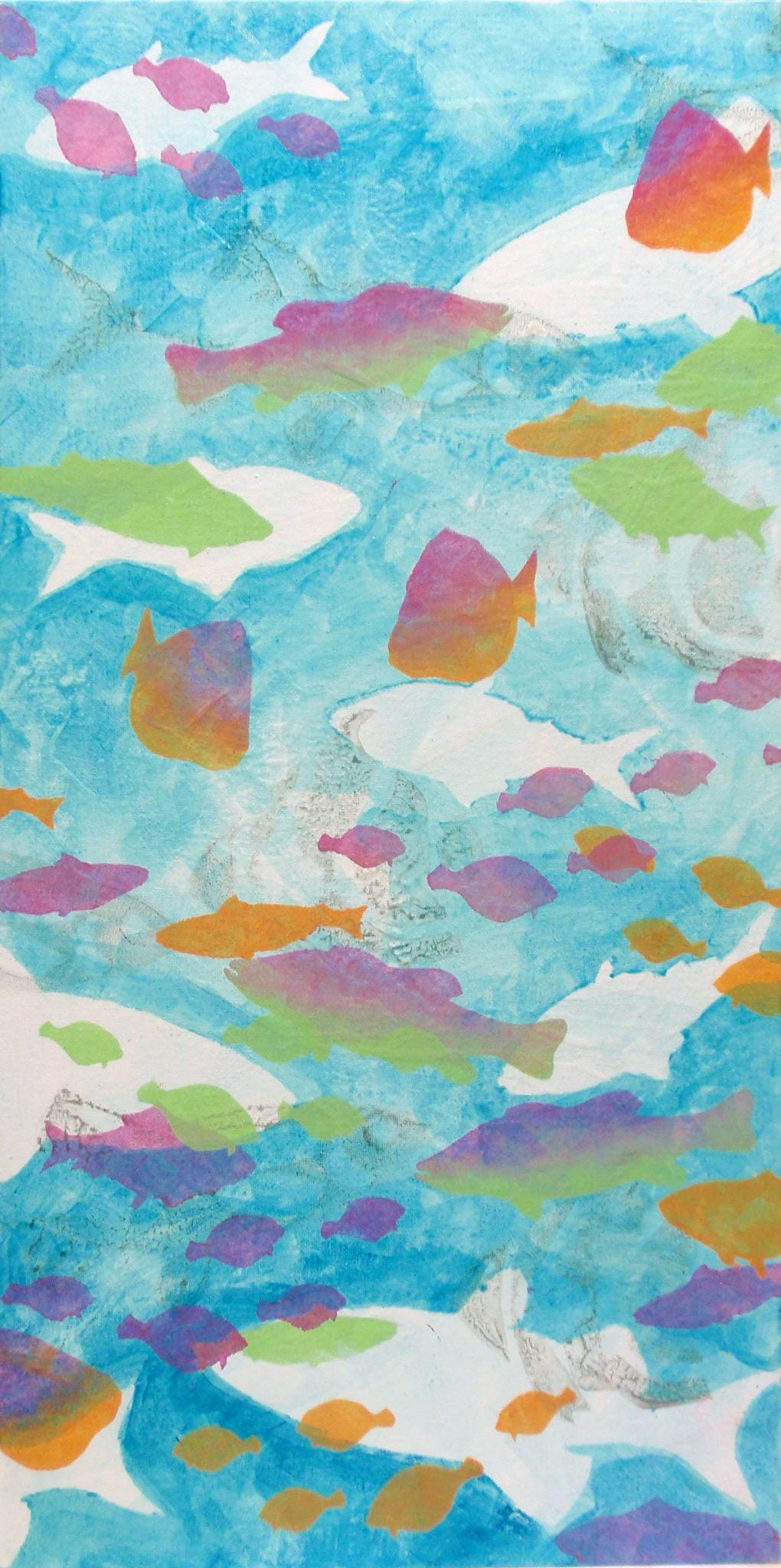 paint with fish stencils