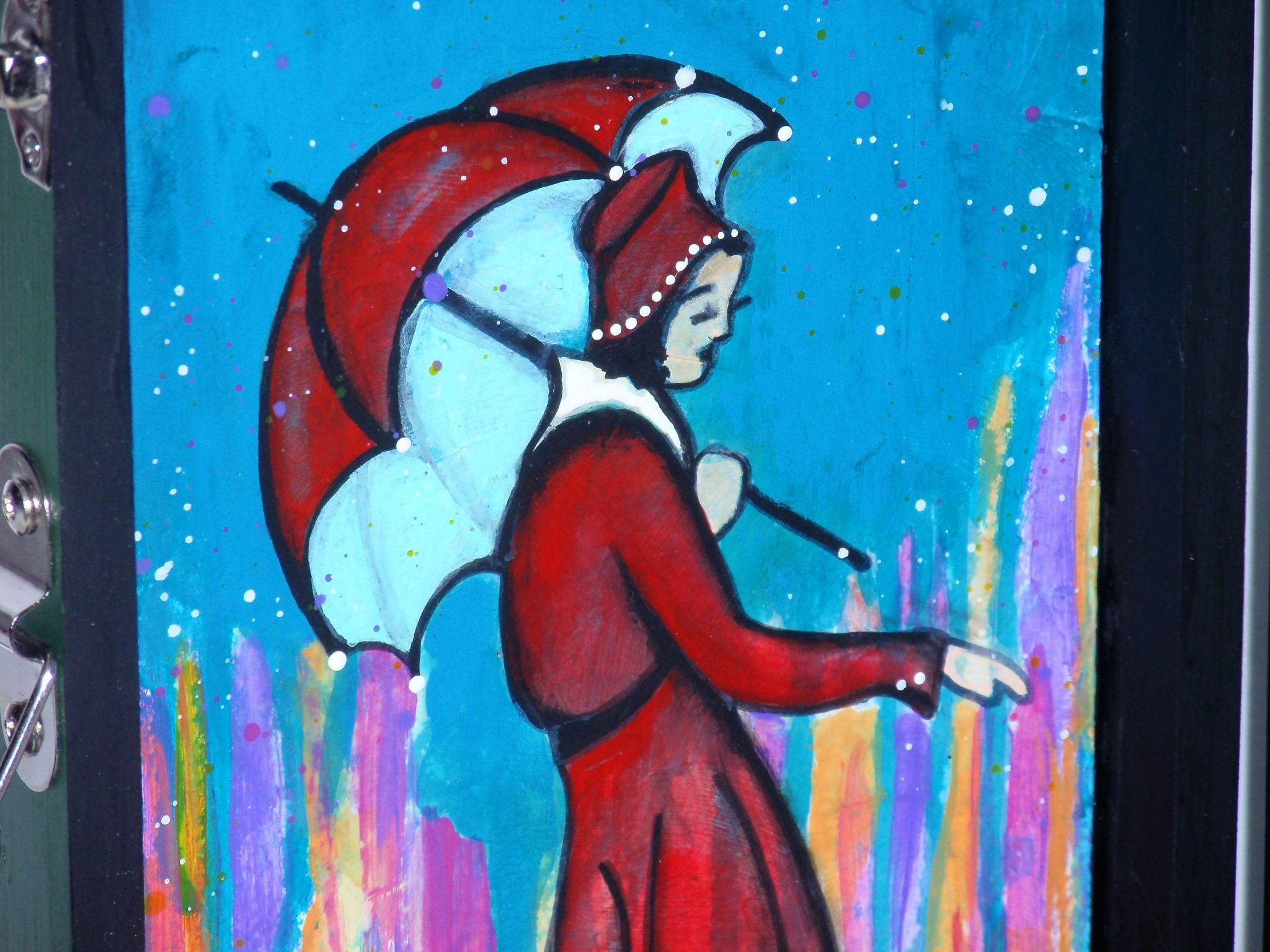 painting lady in the rain
