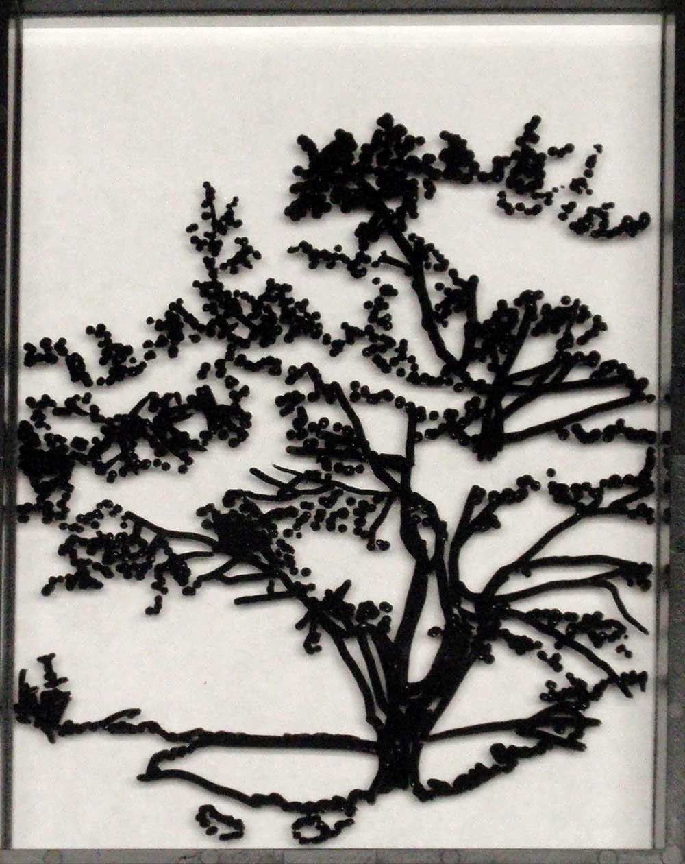 Begin painting tree on glass