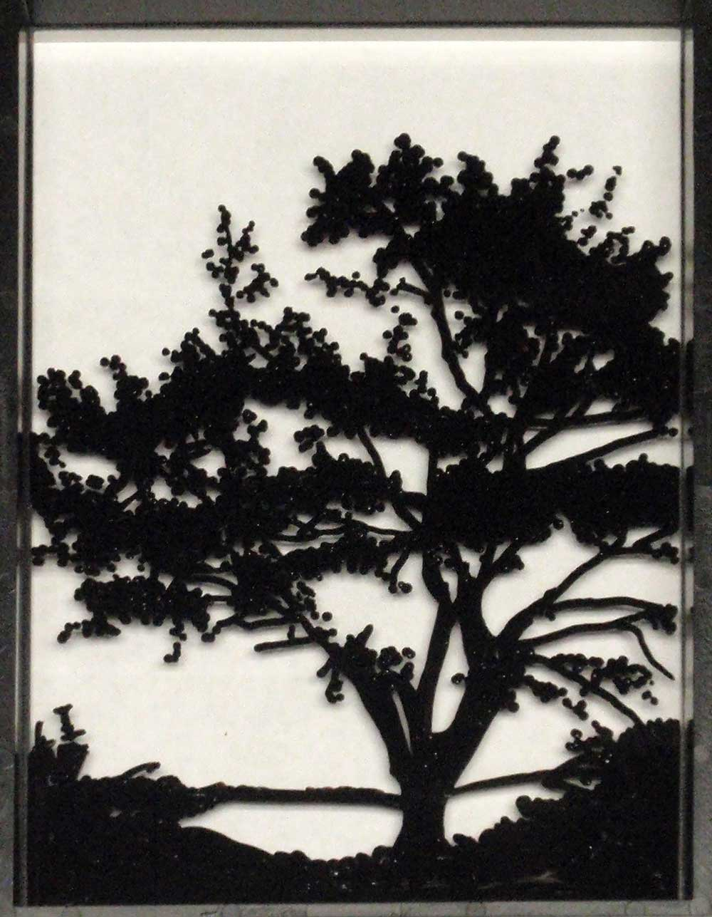 Tree painted on reverse glass