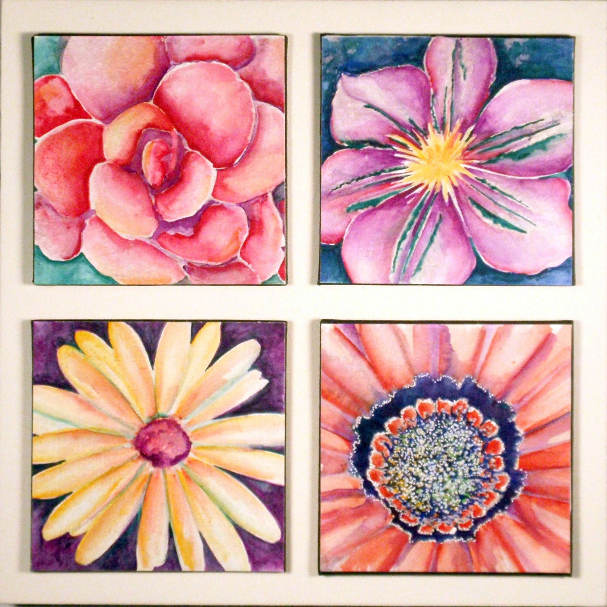 mounted watercolor paintings