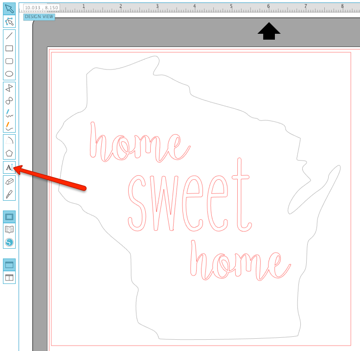 Add text in Silhouette Studio by clicking on the text tool and type out your words.