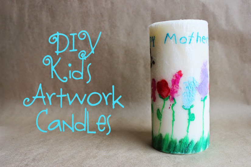 Turning your kids artwork into a candle is easy and quick! Great gift for Mother's Day!