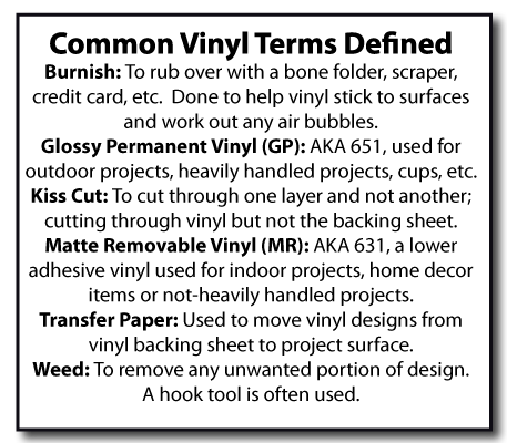 Common vinyl terms defined. Burnish, glossy permanent vinyl (GP, AKA 651), Kiss Cut, Matte Removable Vinyl (MR, AKA 631), Transfer paper and weed. What do all these terms mean? Great information for vinyl beginners!
