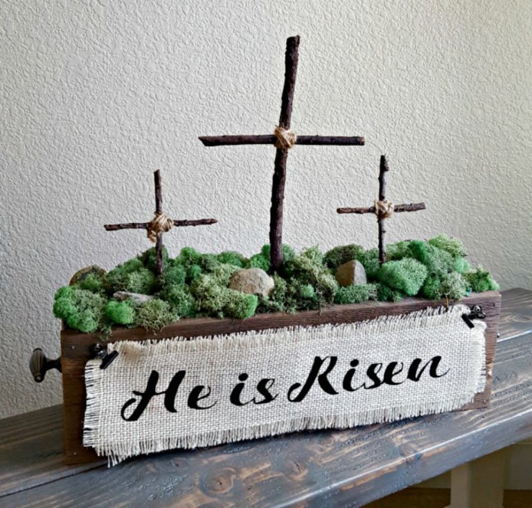 He Is Risen Wood Box with wood crosses