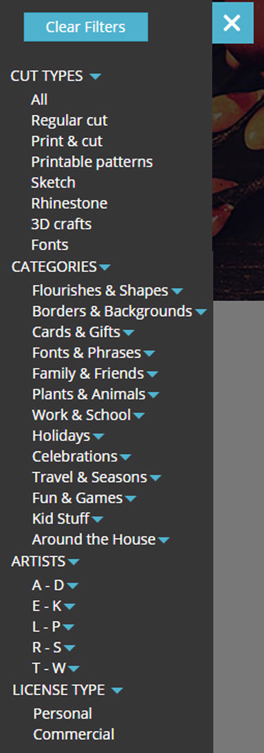 Silhouette design store filters. Filter by cut type, categories, artist name and license type.