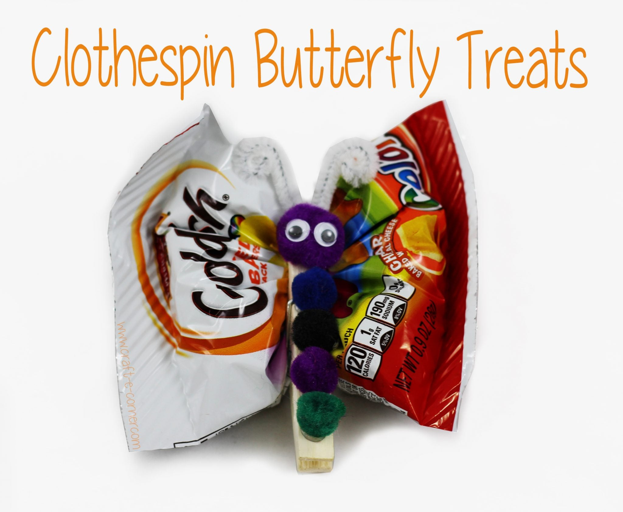 Make clothespin butterfly treats for a special snack!