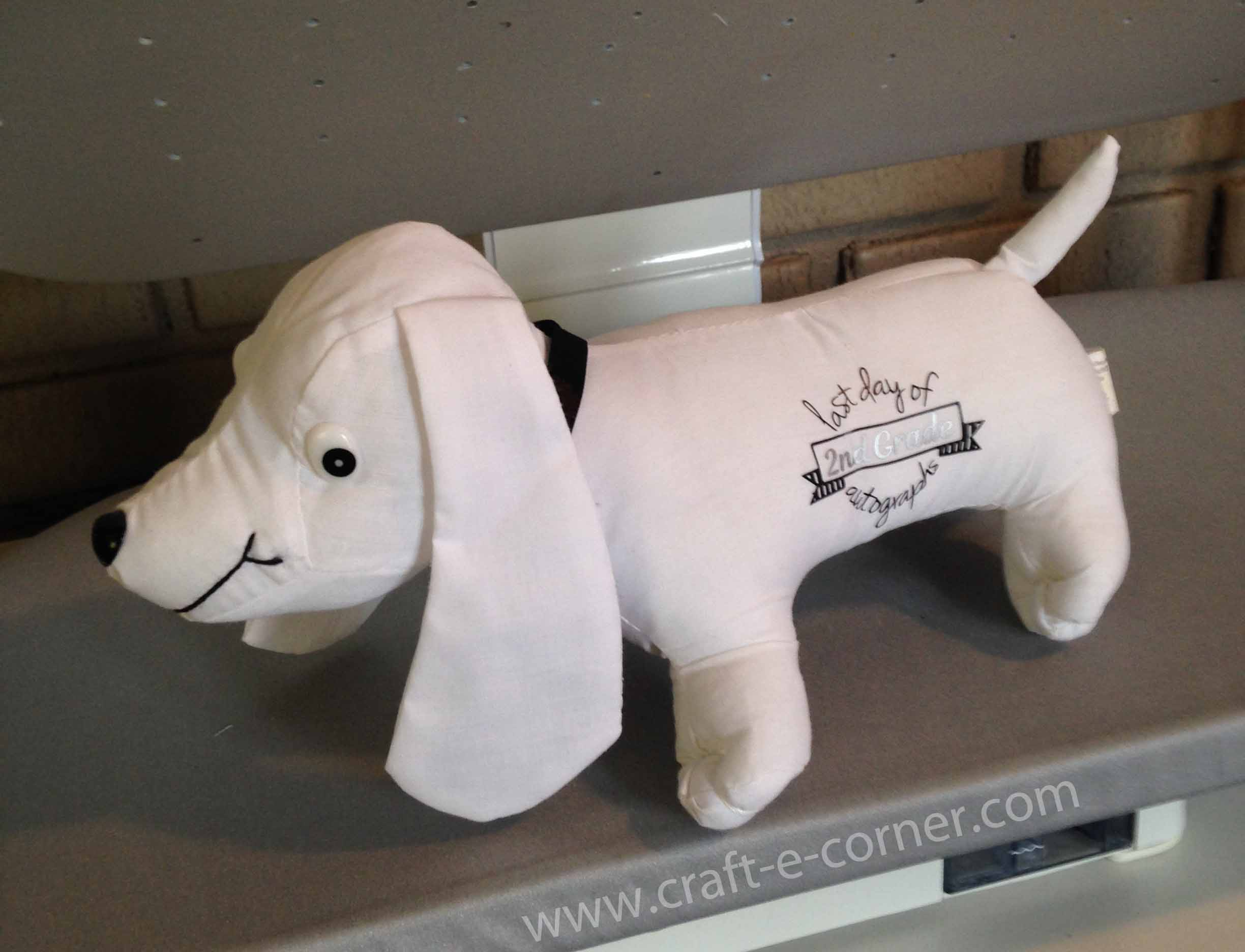 Use a heat press to personalize a last day of school autograph stuffed animal.