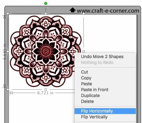 Flip the mandala before cutting heat transfer vinyl.