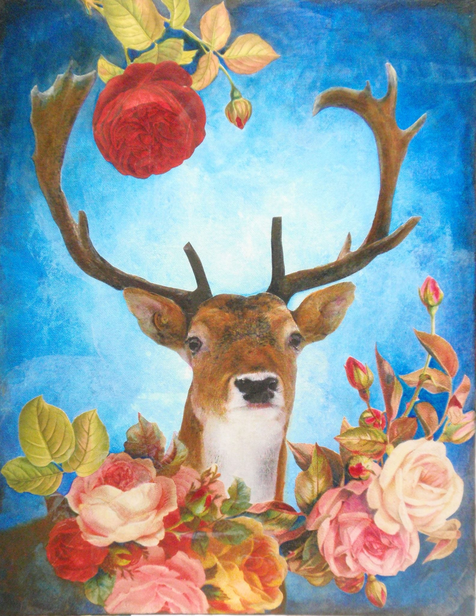 floral deer canvas