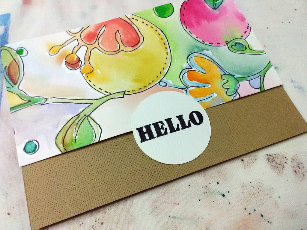 glue painting to card front