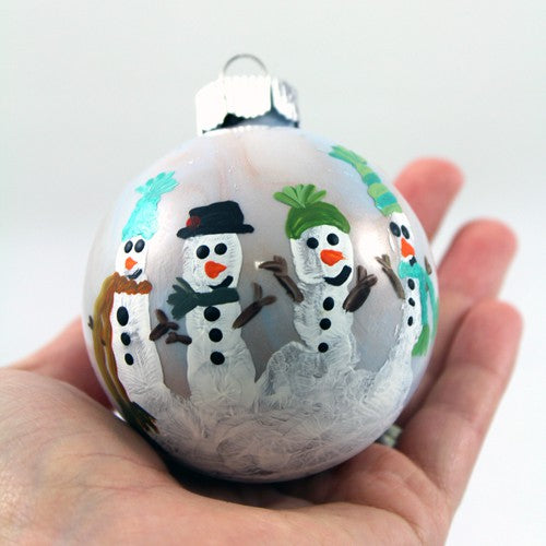 handprint snowman ornaments