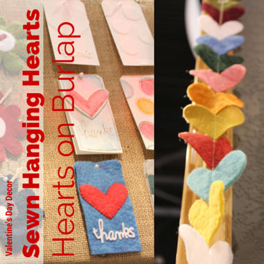 This garland is so simple, just a bunch of felt hearts sewn together, but I love all the different colors and thicknesses of felt. I need to get my sewing machine out...